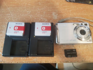 Sony Cyber-shot DSC-W80 with 2 Batteries and 2 Chargers