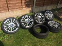 """18"""" Alloy Wheels 5x100 Good Tyres Set of 5"""