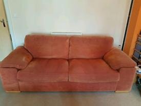 Terracotta velour 3 seater sofa with light wood feet
