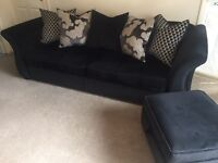 Fabric 4 seater sofa, chairs and footstools