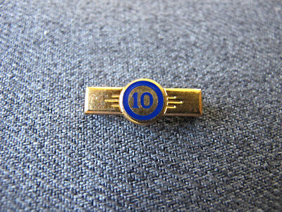 Vintage blue enamel golden metal 10 anniversary miniature pin  Marked  #2