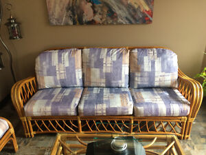 Cushions only from Rattan/Wicker set couch, chairs and ottoman