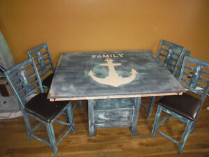 Custom painted table/ 4 chairs