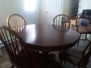 Solid dark cherry wood table& chairs
