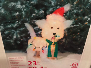 Fluffy Dog Sculpture Multi colours Holiday decoration NEW ~ $30