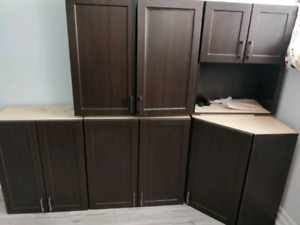 Full Kitchen Cabinets + range hood, counter top, sink, faucet...