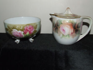 Vintage Lefton Sugar/ Candy Dish and R S Germany Lidded Creamer