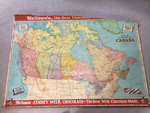 Vintage 1950 Neilson's Chocolate Schoolhouse Map of Canada