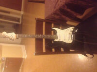 Electric Squire Guitar -Black and White-