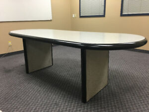 Grey Conference Room Table & 6 Adjustable Office Chairs