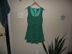 Little green polka-dot dress (or long shirt)