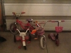 Children's bikes and tricycle