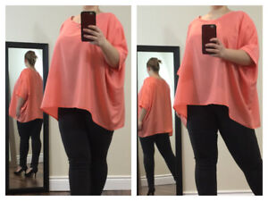 Lovely Flowing Plus-Size Peach Top