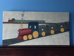 Train Set Oil Painting on Canvas