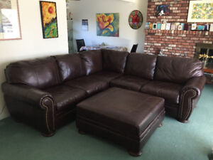 Ashley Brown Leather Sectional Couch and Ottoman
