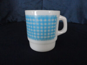 Vintage Fireking Gingham Mug Turquoise Blue