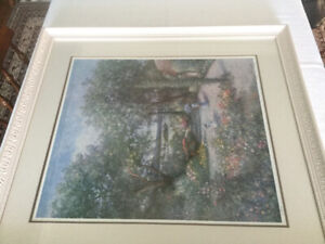 English Garden watercolour, Framed, and numbered print.