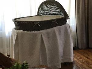 RH Baby bassinet and bedding (restoration hardware)