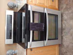 LG stainless steel electric double oven with ceramic cook top