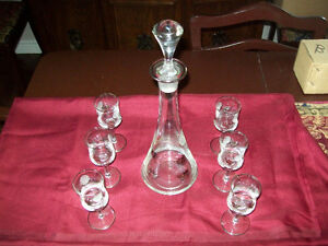SILVER AND CRYSTAL BRANDY DECANTER SET