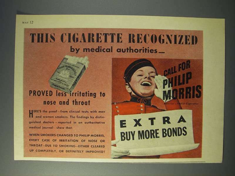1944 Philip Morris Cigarette Ad - Recognized by Medical
