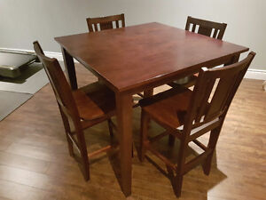 Dark Solid Wood Bar Height Table and Chairs
