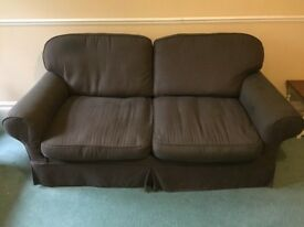 3 seater sofa bed brown fabric