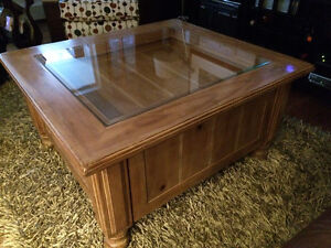 beautiful wood coffee table with glass top for sale