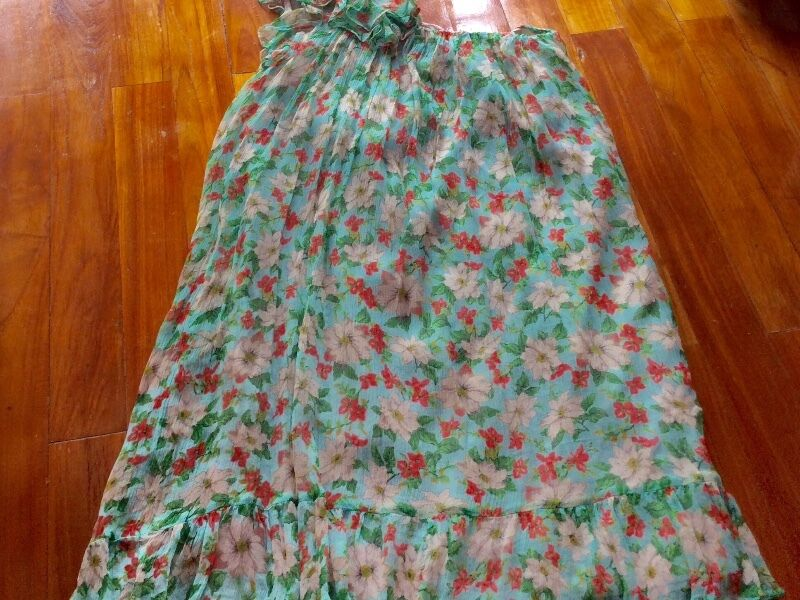 New One Zara Shoulder Turquoise Silk Chiffon Floral Dress