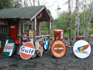 CLASSIC CYCLE SLED AND GASOLINE SIGNS