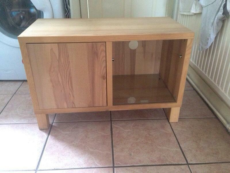 Solid Wood Tv Stand With Glass Shelf In Stanley West