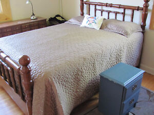 pine bed, with table and dresser and bed