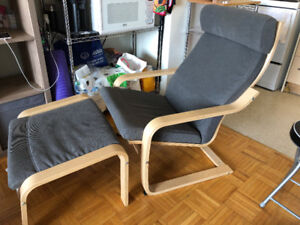 Rarely Used Grey POANG IKEA chair + stool  (smoke and pet free)