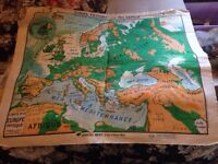 Kaepellin & Bruley 1940/50s Political French Map of Europe - Worth £500 Today!