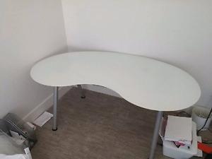 Ikea Kidney shaped Glass top desk