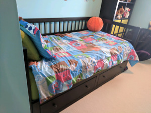Ikea Hemnes Daybed - Black-Brown and Mattress
