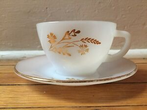 Vintage Federal milk glass tea cup and saucer