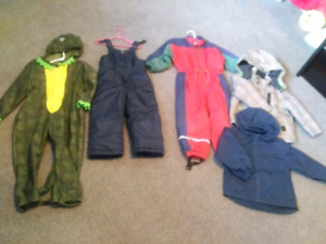 Toddler size 4T snowpants, jackets and costume $10 each