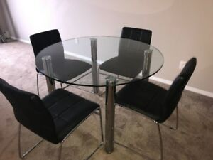 Solid Glass Round Dining table with Chairs