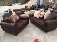 Brown semi leather 3 + 2 seater sofa suite