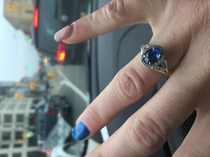 Genuine blue sapphire white gold ring
