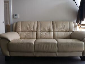 Leather Beige sofa - 2 pc set