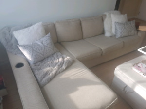 2 Piece Sectional Couch Sofa w/ Chaise & pull out bed w/mattress