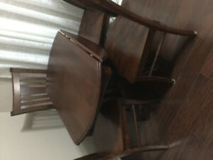 CANADEL solid maple drop Leaf Table and 4 chairs
