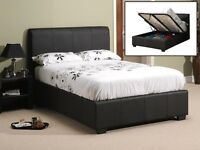 Oregon Double Black faux leather storage bed, as new (no mattress) local delivery possible