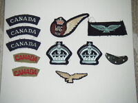 WWII Canadian Airforce patches and flying helmet part