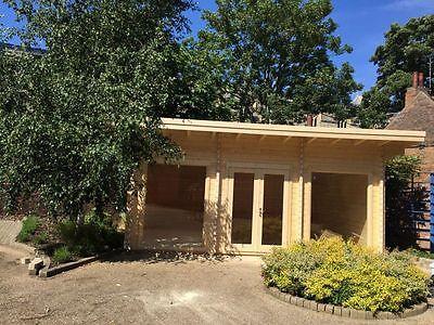 HAYLO 1 LOG CABIN - 6.4m x 3.6m Summer House, Garden Building, Home office 70mm