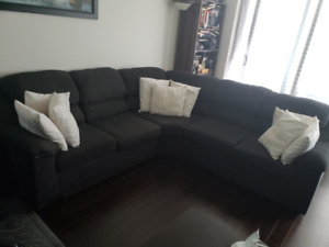 MOVING SALE !!  Fabric Sectional - Dark Grey $500 NEGOTIABLE