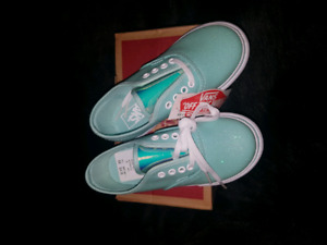 TODDLER AUTHENTIC TURQUOISE GLITTER VANS SIZE 10C