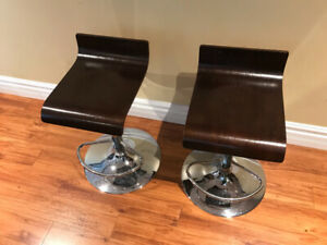 Two adjustable bar stools